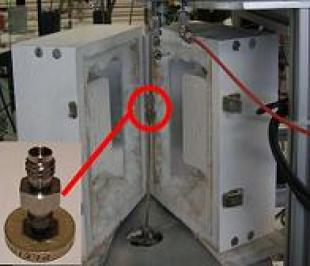ZLC column connected to the inside of the ZLC oven.  The oven is fitted with a thermocouple to measure its temperature.